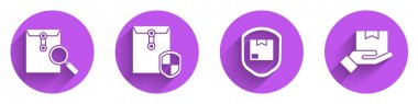 Set Envelope with magnifying glass, Envelope with shield, Delivery pack security with shield and Delivery hand with boxes icon with long shadow. Vector. icon