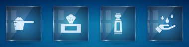 Set Washing powder, Wet wipe pack, Tube of toothpaste and hands with soap. Square glass panels. Vector. icon