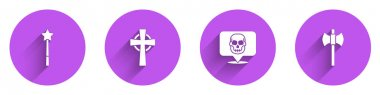 Set Magic wand, Tombstone with cross, Skull and Wooden axe icon with long shadow. Vector. icon