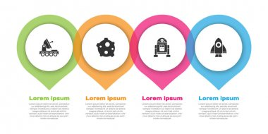 Set Mars rover, Asteroid, Robot and Rocket ship. Business infographic template. Vector. icon
