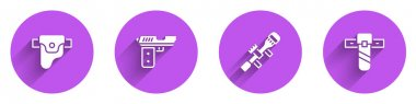 Set Gun in holster, Pistol or gun, Sniper optical sight and Knife icon with long shadow. Vector. icon