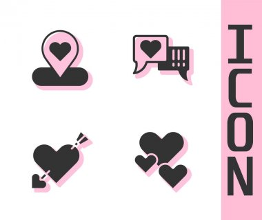 Set Heart, Location with heart, Amour and arrow and in speech bubble icon. Vector. icon