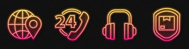 Set line Headphones, Location on the globe, Telephone 24 hours support and Delivery pack security with shield. Glowing neon icon. Vector. icon