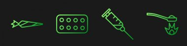 Set line Syringe, Marijuana joint, Pills in blister pack and Heroin in a spoon. Gradient color icons. Vector. icon