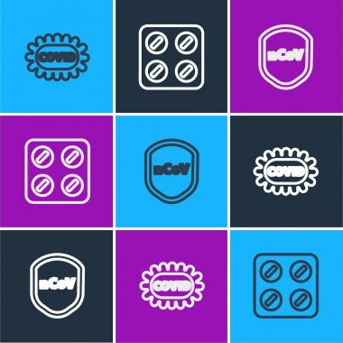 Set line Corona virus covid-19, Shield protecting from and Pills blister pack icon. Vector. icon