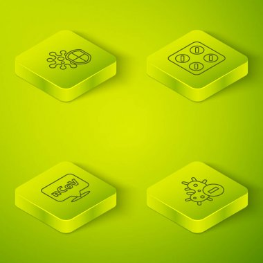 Set Isometric Pills in blister pack, Corona virus 2019-nCoV on location, Negative and Shield protecting from icon. Vector. icon