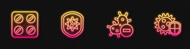 Set line Negative virus, Pills in blister pack, Shield protecting from and . Glowing neon icon. Vector. icon