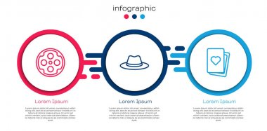Set line Revolver cylinder, Western cowboy hat and Deck of playing cards. Business infographic template. Vector. icon