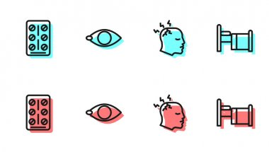 Set line Man having headache, Pills blister pack, Blindness and Hospital bed icon. Vector. icon