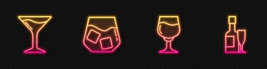 Set line Wine glass, Martini, Glass of whiskey and Champagne bottle and. Glowing neon icon. Vector. icon
