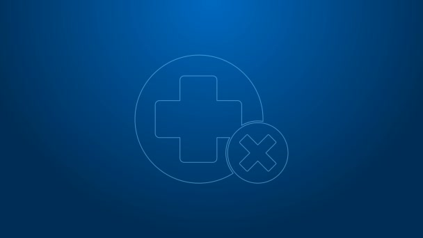 White line Cross hospital medical icon isolated on blue background. First aid. Diagnostics symbol. Medicine and pharmacy sign. 4K Video motion graphic animation