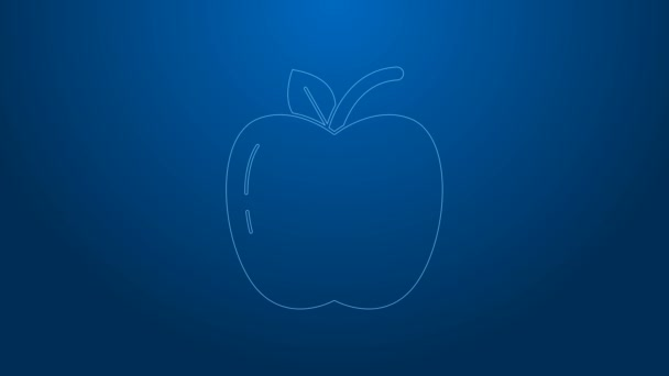 White line Apple icon isolated on blue background. Fruit with leaf symbol. 4K Video motion graphic animation