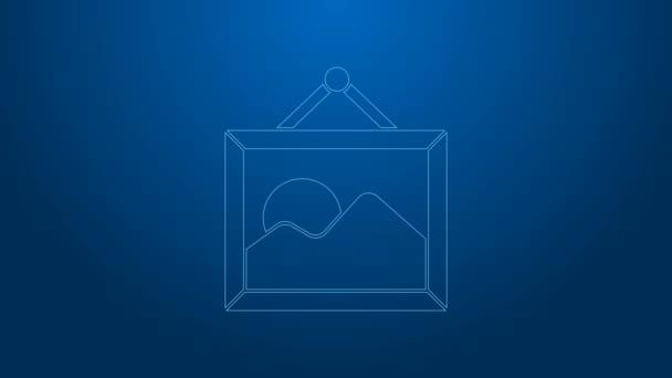 Bílá čára Obrázek krajina ikona izolované na modrém pozadí. Grafická animace pohybu videa 4K
