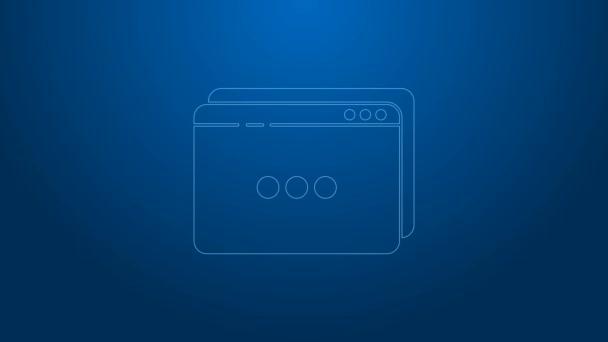 Bílá čára Ikona webové stránky izolované na modrém pozadí. Internetový komunikační protokol. Grafická animace pohybu videa 4K