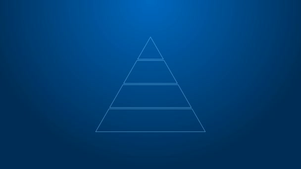 White line Business pyramid chart infographics icon isolated on blue background. Pyramidal stages graph elements. 4K Video motion graphic animation