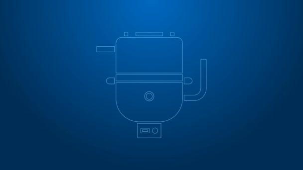Weiße Linie Elektrischer Boiler zum Heizen von Wasser Symbol isoliert auf blauem Hintergrund. 4K Video Motion Grafik Animation