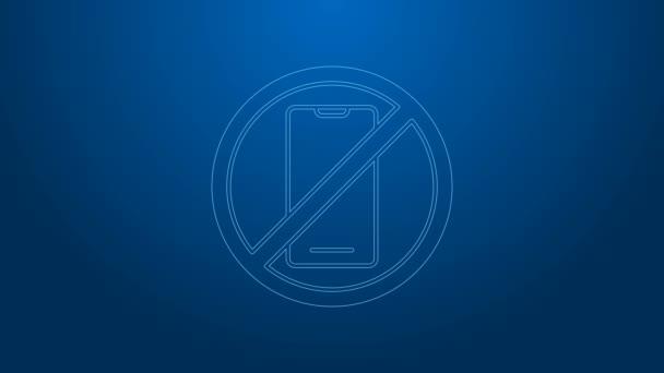Bílá čára Žádný mobil ikona izolované na modrém pozadí. Žádné mluvení a volání. Zákaz buněk. Grafická animace pohybu videa 4K