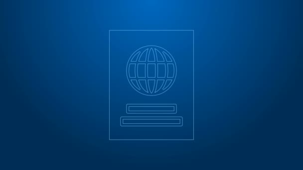 White line Passport with biometric data icon isolated on blue background. Identification Document. 4K Video motion graphic animation