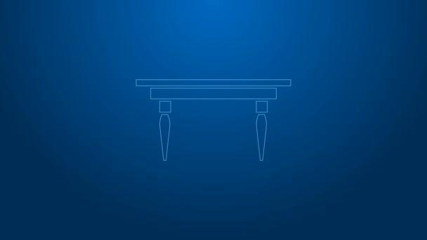 Fehér vonal Fa asztal ikon elszigetelt kék háttérrel. 4K Videó mozgás grafikus animáció