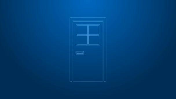 Weiße Linie Geschlossene Tür Symbol isoliert auf blauem Hintergrund. 4K Video Motion Grafik Animation