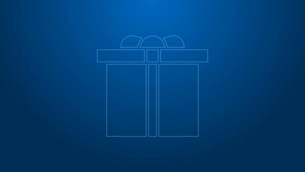 Fehér vonal Ajándék doboz ikon elszigetelt kék háttérrel. Boldog szülinapot! 4K Videó mozgás grafikus animáció