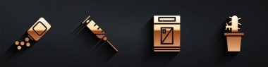 Set Medicine bottle and pills, Syringe, Cigarettes pack box and Cactus peyote in pot icon with long shadow. Vector. icon