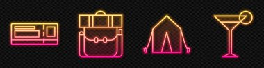 Set line Tourist tent, Travel ticket, Hiking backpack and Martini glass. Glowing neon icon. Vector. icon