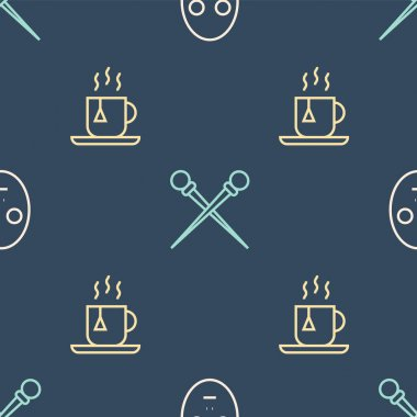 Set line Facial cosmetic mask, Cup of tea with tea bag and Knitting needles on seamless pattern. Vector. icon