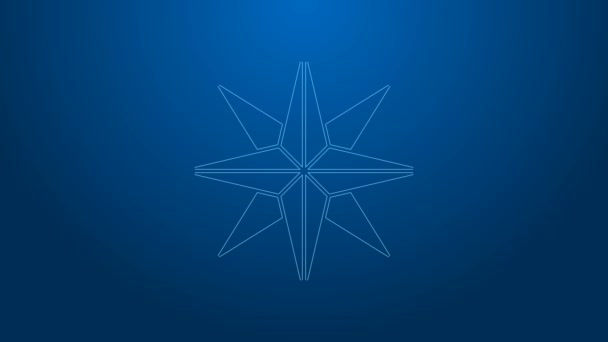 White line Wind rose icon isolated on blue background. Compass icon for travel. Navigation design. 4K Video motion graphic animation