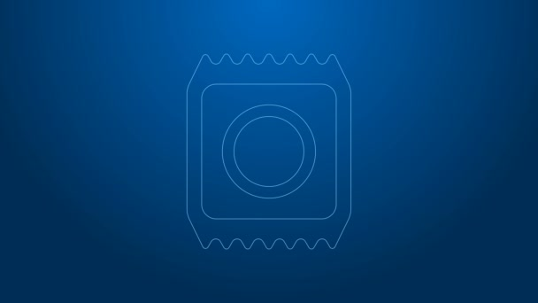 Weiße Linie Kondom in der Verpackung Safe Sex Symbol isoliert auf blauem Hintergrund. Sicheres Liebessymbol. Verhütungsmethode für Männer. 4K Video Motion Grafik Animation
