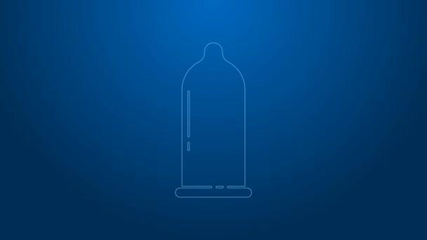 Weiße Linie Kondom Safe Sex-Symbol isoliert auf blauem Hintergrund. Sicheres Liebessymbol. Verhütungsmethode für Männer. 4K Video Motion Grafik Animation