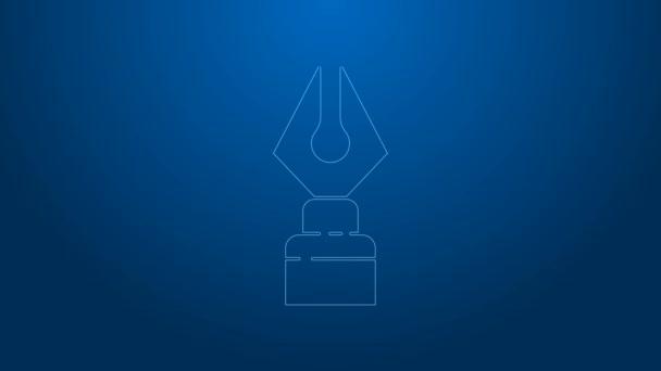 Weiße Linie Füllfederhalter-Symbol isoliert auf blauem Hintergrund. Stift-Werkzeug-Zeichen. 4K Video Motion Grafik Animation