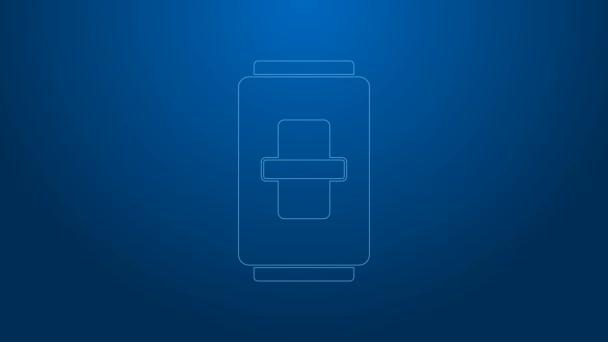 Bílá čára Ikona elektrického vypínače světla izolovaná na modrém pozadí. Ikona Zapnuto a Vypnuto. Tmavší vypínač. Koncept úspory energie. Grafická animace pohybu videa 4K