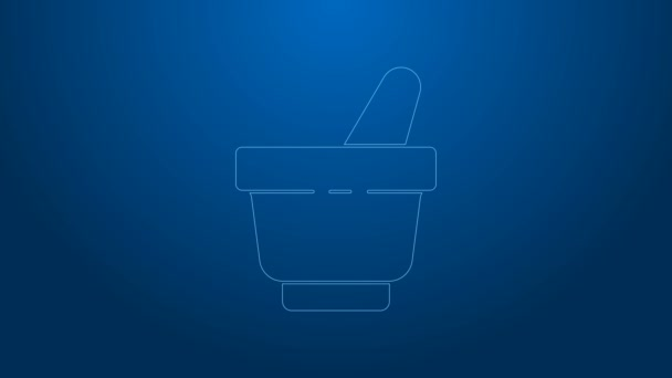 White line Mortar and pestle icon isolated on blue background. 4K Video motion graphic animation