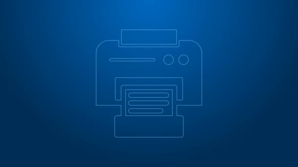 Weiße Linie Druckersymbol isoliert auf blauem Hintergrund. 4K Video Motion Grafik Animation