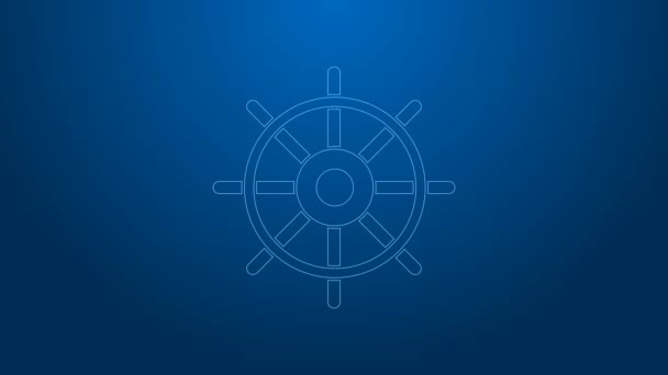 White line Ship steering wheel icon isolated on blue background. 4K Video motion graphic animation
