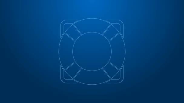 Weiße Linie Rettungsring Symbol isoliert auf blauem Hintergrund. Rettungsring-Symbol. 4K Video Motion Grafik Animation