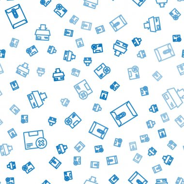 Set line Carton cardboard box and delete, Envelope and  on seamless pattern. Vector. icon