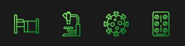 Set line Virus, Hospital bed, Microscope and Pills in blister pack. Gradient color icons. Vector. icon