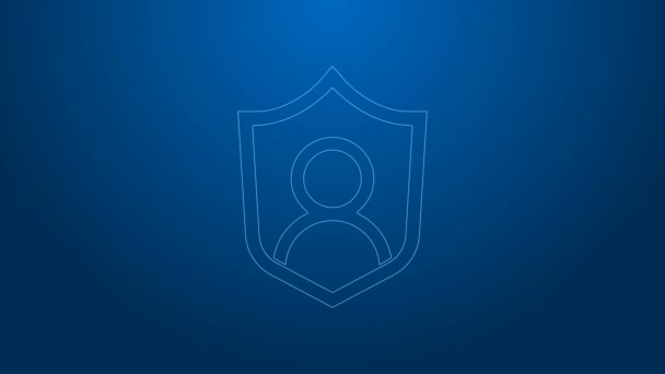 White line User protection icon isolated on blue background. Secure user login, password protected, personal data protection, authentication. 4K Video motion graphic animation
