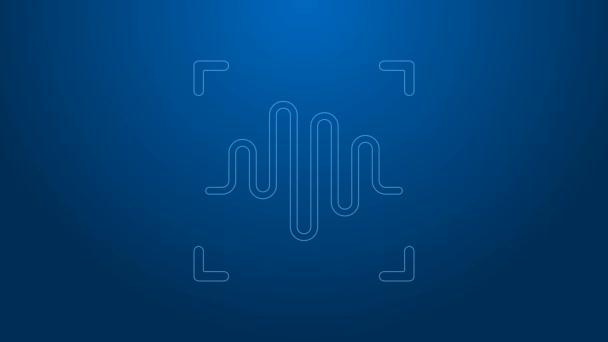 Weiße Linie Spracherkennungssymbol isoliert auf blauem Hintergrund. Sprachbiometrische Authentifizierung des Zugangs zur persönlichen Identitätserkennung. Cybersicherheit. 4K Video Motion Grafik Animation