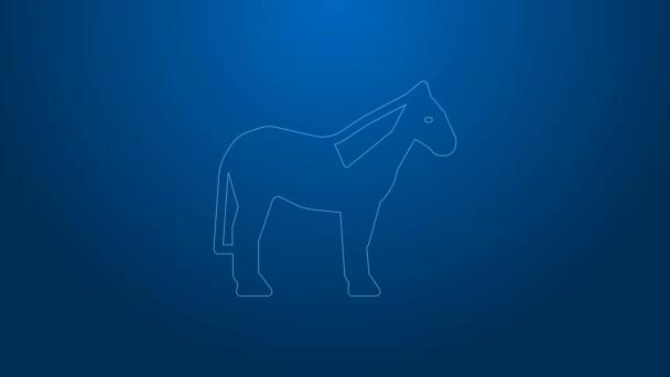 Fehér vonal Ló ikon elszigetelt kék háttérrel. Állati szimbólum. 4K Videó mozgás grafikus animáció