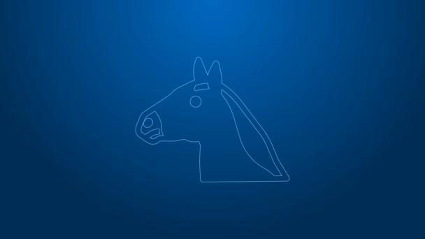 Fehér vonal Lófej ikon elszigetelt kék háttérrel. Állati szimbólum. 4K Videó mozgás grafikus animáció