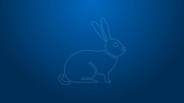 Weiße Linie Kaninchen-Symbol isoliert auf blauem Hintergrund. 4K Video Motion Grafik Animation