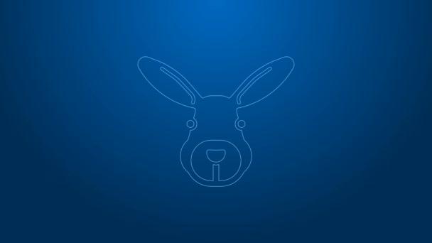 Weiße Linie Kaninchenkopf-Symbol isoliert auf blauem Hintergrund. 4K Video Motion Grafik Animation