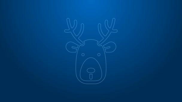 Fehér vonal szarvas fej agancs ikon elszigetelt kék háttérrel. 4K Videó mozgás grafikus animáció