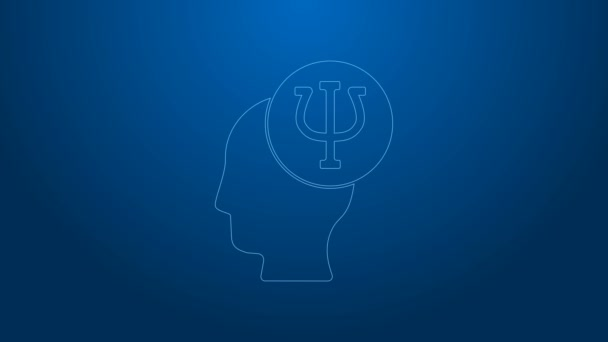 White line Psychology icon isolated on blue background. Psi symbol. Mental health concept, psychoanalysis analysis and psychotherapy. 4K Video motion graphic animation