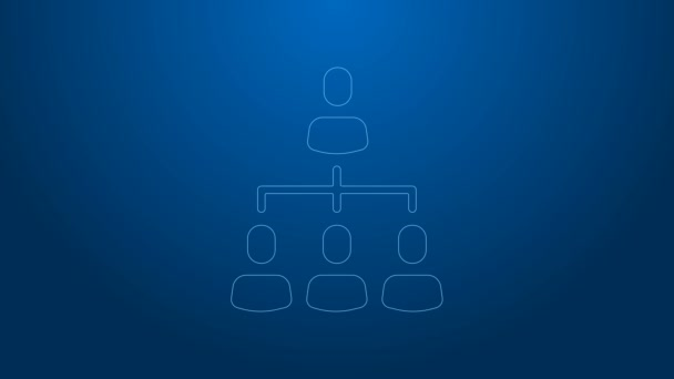 White line Business hierarchy organogram chart infographics icon isolated on blue background. Corporate organizational structure graphic elements. 4K Video motion graphic animation