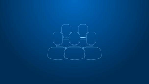 Bílá čára Projekt tým základní ikona izolované na modrém pozadí. Obchodní analýza a plánování, poradenství, týmová práce, projektové řízení. Grafická animace pohybu videa 4K