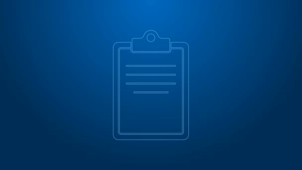 White line Clipboard with checklist icon isolated on blue background. Control list symbol. Survey poll or questionnaire feedback form. 4K Video motion graphic animation